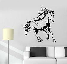 Vinyl Wall Decal Galloping Horse Sexy Woman Naked Girl Stickers (1635ig)