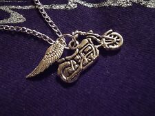 Motorcycle Necklace Guardian Angel Wing Charms Silver Chain Harley Davidson M22