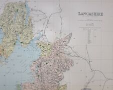 1889 COUNTY MAP LANCASHIRE NORTH SHEET LANCASTER CARTMELL ULVERSTON HAWKESHEAD