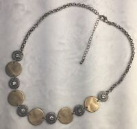 "Rustic Silver Pound Gold Tones Necklace Clear Rhinestones 18-20"" Minimalist"