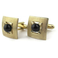 Vtg Cufflinks Square Textured Gold Tone Black Glass Bead Retro Gifts for Men