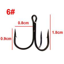 Lot 100pcs Fishing Hook Sharpened Treble Hooks 7 Size 2/4/6/8/10/12/14 Fishhook