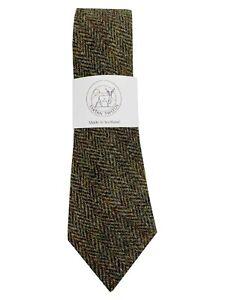 Men's Harris Tweed Tie Brown Herringbone