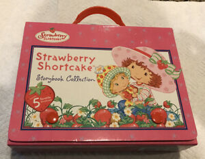Strawberry Shortcake Book Collection Snap Close Carry Case + 5 Story Books EUC