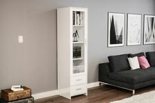 Birlea Edgeware Glass Door Display Cabinet Bookcase White Gloss