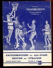 1953 Basketball Program New York Knicks vs College All Stars Syr vs Boston VGEX