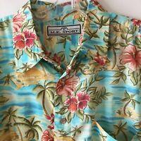 M.E. Sport Hawaiian Camp Shirt Island Floral Tropical Men's Large L