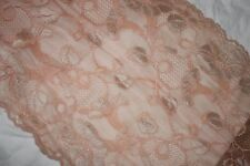 "1 yard victorian peach nude tan scalloped STRETCH trim sewing lace 9.5"" wide"