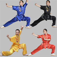 Chinese Silk Martial Arts Uniform Kung Fu Suits Tai Chi Wing Embroidery Clothing