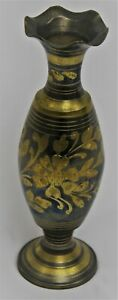Rustic Black and Brass Plated Flower Decorative Vase