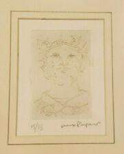 "Max Papart Original Etching Art ""Greek Head"" 15/35 Ltd Ed Framed Matted Signed"