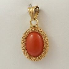 NEW 14K Yellow Gold Red Coral Filigree Pendant 4gr