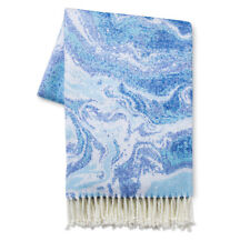 "Xhilaration 50"" x 60"" Blue & White Marbled Throw"