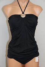 NWT Michael Kors Swimsuit Tankini 2 pc set Sz M Black Bandeau Strap