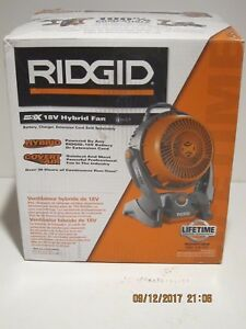 RIDGID R860720B GEN5X Hybrid Fan 18-Volt Rubber Handle Variable Speed Dials NISB