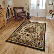 """Small Large Classic Heritage Medallion Hand Carved 14mm Black Cream Quality Rugs Runner 67 X 240cm (2ft 2"""" X 7ft 11"""")"""