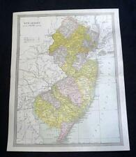 New Jersey State Map 1912 Vintage Scientific American Atlas Page