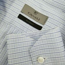 Current CANALI 1934 Exclusive Men's Blue Check Button Front Dress Shirt - 16.5