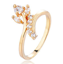 Gold Filled CZ Ring Size 8.5 White Wedding Fashion Circle Round Girl Yellow
