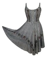 Midi Boho Summer Dress Embroidered Corset Fit & Flare Grey One Size 8 10 12 14