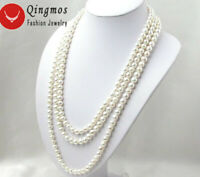 6-7mm Round Natural Freshwater White Pearl Necklace for Women Long Necklace 80""