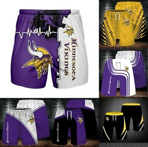 Minnesota Vikings Men's Summer Shorts Workout Fitness Casual Short Pants S-5XL