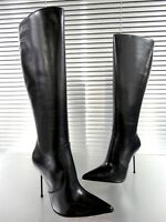 GIOHEL KNEE HIGH BOOTS STIEFEL POINTY STIVALI SHOES PELLE LEATHER BLACK NERO 38