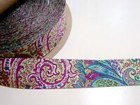 Green Paisley Ribbon 1 1/2 inches wide x 10 yards, Woven Ribbon, Pink Paisley