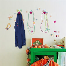 SWEETS wall stickers with 3 PINK wooden HOOKS 39 decals necklace ring bracelet