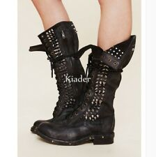 Womens Western Punk Rivets Real Leather Combat Riding Mid Calf Boots Shoes Lady