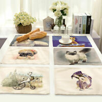 Coloured Drawing Animal Insulation Placemat Dining Table Mat Home Kitchen