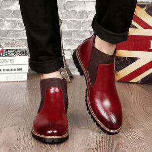 Mens Business Formal Office Party Shoes Casual PU Leather Pointy Toe Ankle Boots