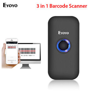 Eyoyo 2.4G Wireless & Wired & Bluetooth Barcode Scanner for Phone Tablets PC