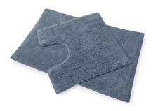 Premier 100% Cotton Bath and Pedestal Mat Set - Slate Blue
