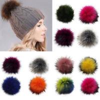 Women Large Faux Raccoon Fur Pom Pom Ball with Press Knitting Hat DIY P