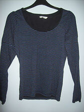 Top Ladies Top Long Sleeved  Black & Blue Striped by Papaya Size 8 Cotton