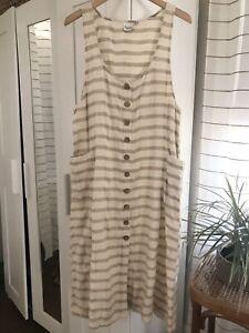 Vintage 90s Minimalist India Cotton / Linen Cream And Tan Stripe Dress Size M
