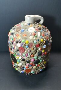 "Vintage Folk Art Handled Stoneware Memory Jug with Marbles 10"" Tall & 17.65 LBS!"
