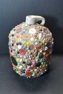 "Vintage Folk Art Handled Stoneware Memory Jug with Marbles 10"" Tall & 17.65 LBS!"