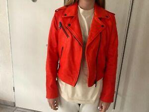 Super schöne Tommy Hilfiger Leder - Jacke in Gr. 8 in rot-orange ! Top