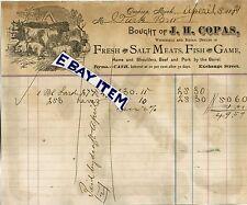 1881 BILLHEAD Owosso Michigan J. H. COPAS fresh & salt meats fish game beef pork