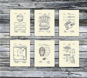 Vintage Baseball Glove & Equipment Patent Art set of 6 Unframed Art Prints