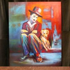 Charlie Chaplin- Dog's Life: original large oil painting Russian artist SARKISOV