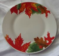 4 ROYAL NORFOLK COLORFUL AUTUMN FALL THANKSGIVING LEAVES DINNER PLATES 10.5""