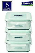 Clean & Fresh Glasslock RP522 Square 30-Ounce Glass Food-Storage Container 3 set