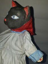 vintage 1930s Wpa Folk Art Black Cat Halloween Puppet Toy paper mache head