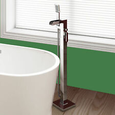 Free Standing Waterfall Bath Shower Mixer Tap Floor Mounted Chrome Over Bath