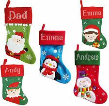 Personalised Christmas Xmas Stockings Crystal Santa Reindeer Penguin diamonte