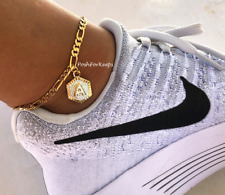 NEW! 18K Gold Plated Initial Anklet A-Z Figaro Chain Adjustable Ankle Bracelet