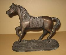Antique Cast Metal Trotting Horse Clock Topper Statue
